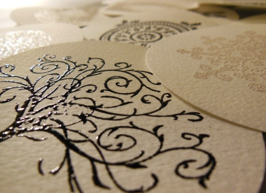 Stamp and emboss the circles