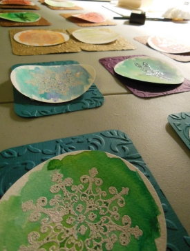 Layout the cards, stick the circles with spacers and glue the backs to the card fronts.