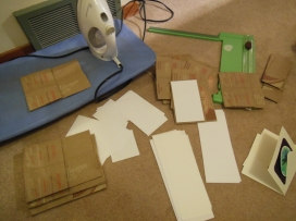 Iron the bags, cut to size and cut out inserts.