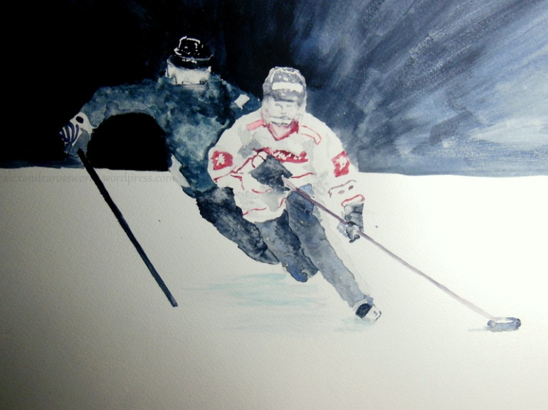 "My newly commissioned watercolour: ""Ringette"""